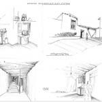 اسکیس از روستای ماسوله - اسکیس معماری - اسکیس از خانه های روستای ماسوله