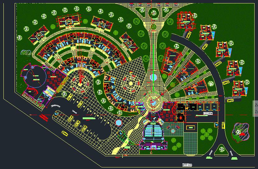 پلان اتوکدی مجتمع تفریحی توریستی,دانلود پلان اتوکدی مجموعه تفریحی توریستی,نقشه های مجموعه تفریحی توریستی,نقشه مجتمع تفریحی توریستی