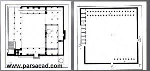 پلان مسجد النبی - نقشه مسجد النبی - پلان معماری مسجد النبی
