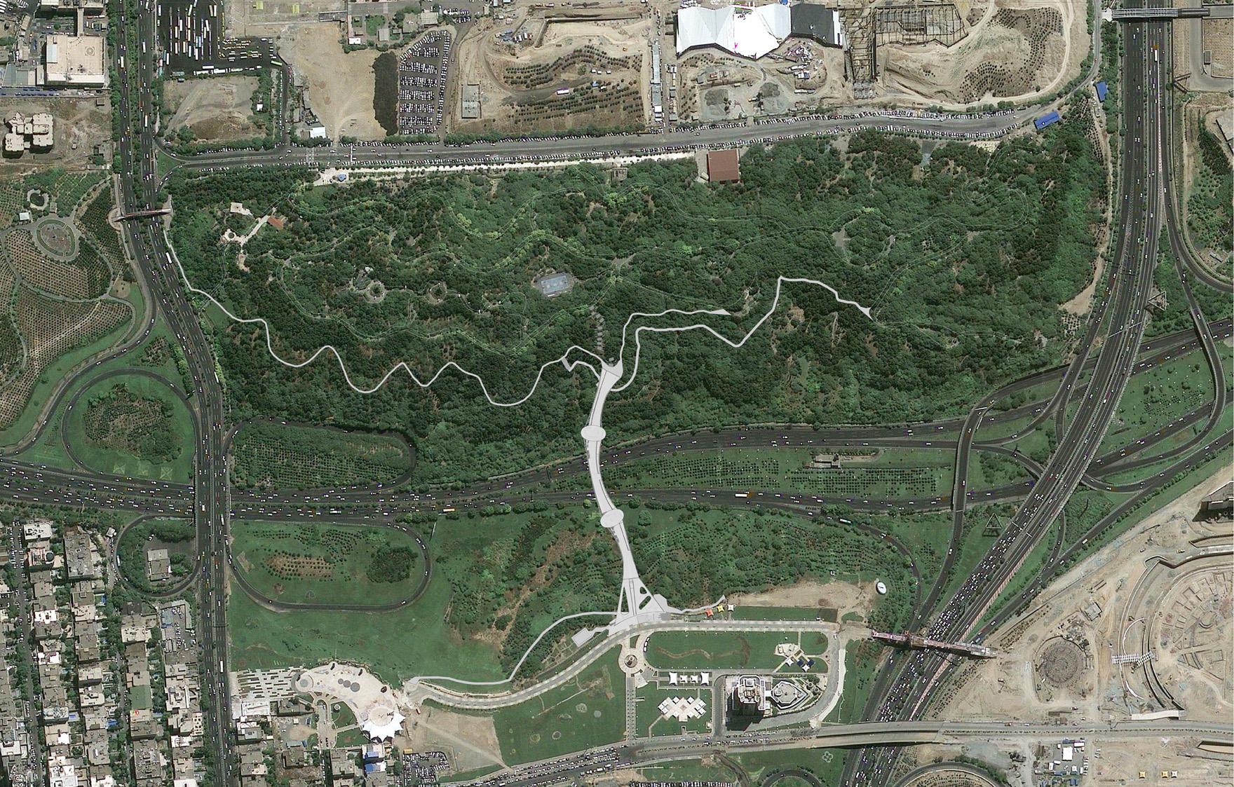 تصویر هوایی از پل طبیعت تهران,موقعیت سایت پل طبیعت تهران,تپه های عباس آباد تهران