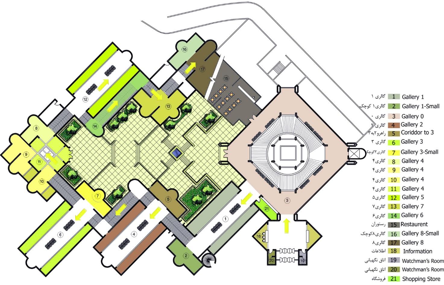 پلان طبقه همکف موزه هنرهای معاصر تهران,نقشه موزه هنرهای معاصر تهران