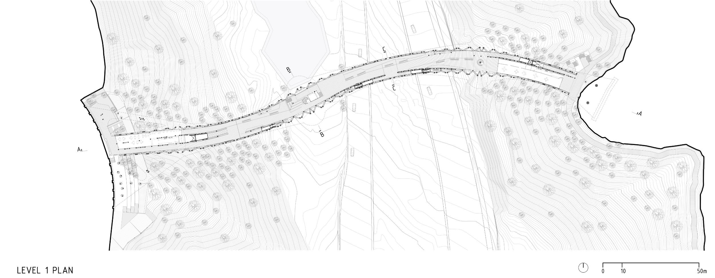 پلان طبقه اول پل طبیعت تهران,نقشه طبقه اول پل طبیعت