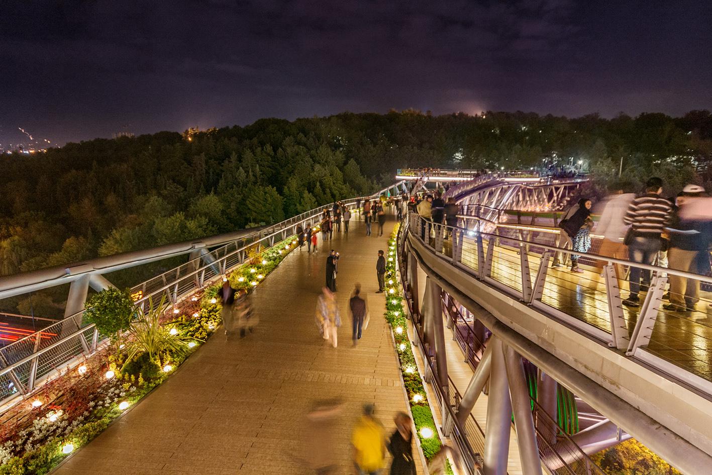 نورپردازی پل طبیعت در شب,محوطه سازی پل طبیعت