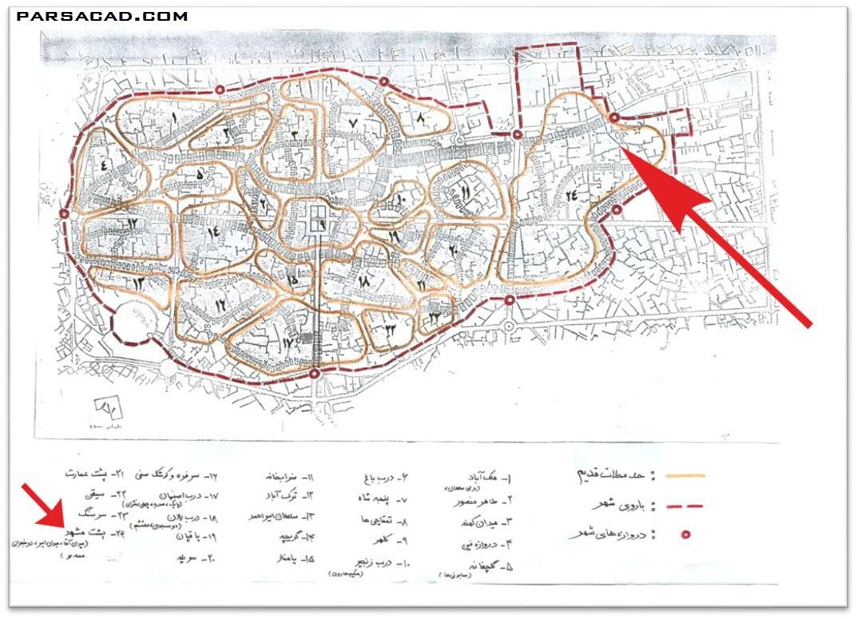 موقعیت خانه اسدالله شعاعی در نقشه قدیم کاشان