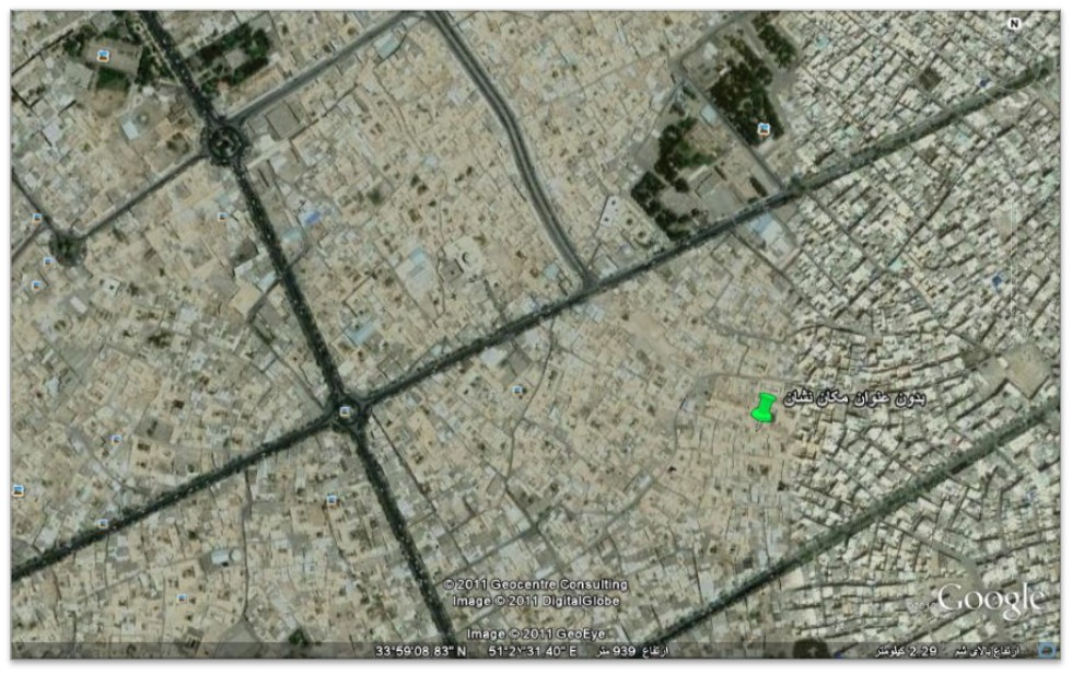 موقعیت فعلی خانه اسدالله شعاعی در نقشه کاشان