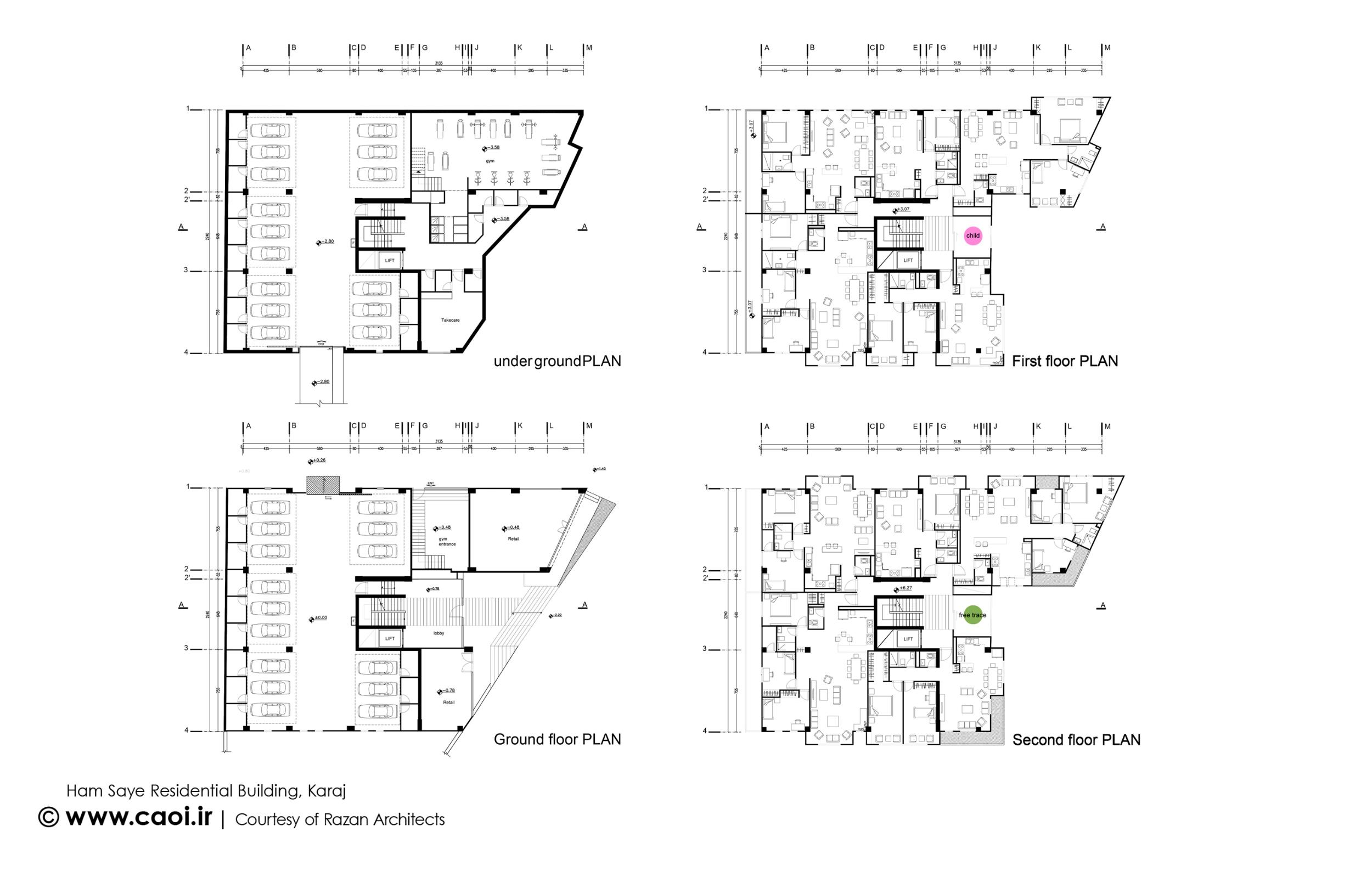 پلان مجتمع مسکونی,نقشه مجتمع مسکونی,نقشه ساختمان مسکونی
