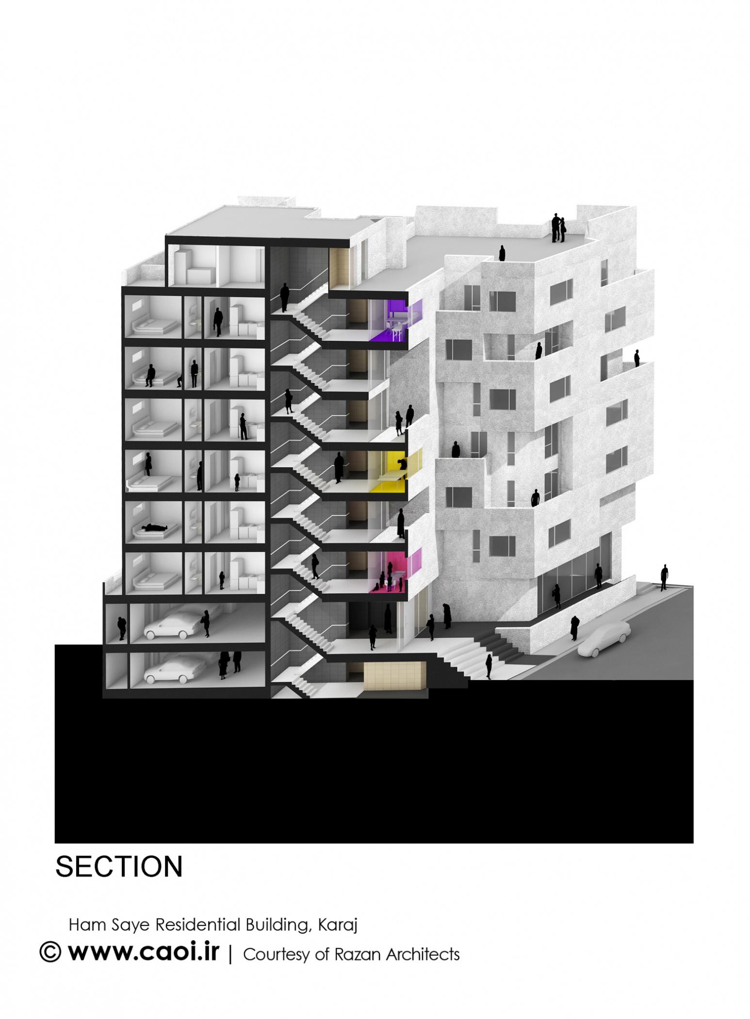 برش و مقطع مجتمع مسکونی,پلان مجتمع مسکونی,نقشه مجتمع مسکونی,نقشه ساختمان مسکونی