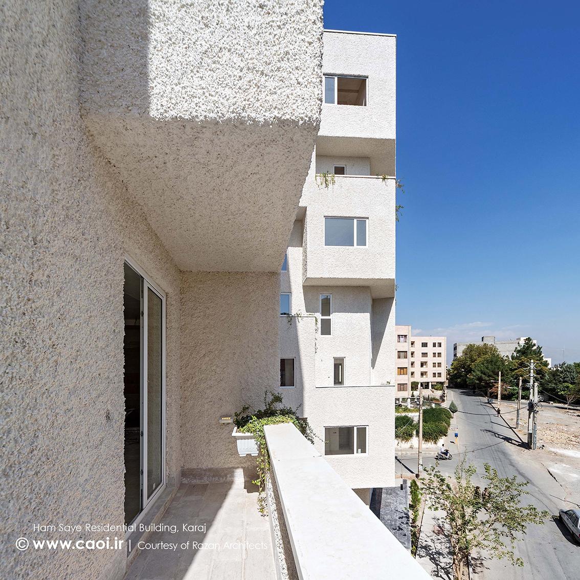 تراس مجتمع مسکونی,نمای ساختمان مسکونی همسایه,نمای مجتمع مسکونی,طراحی نمای مجتمع مسکونی