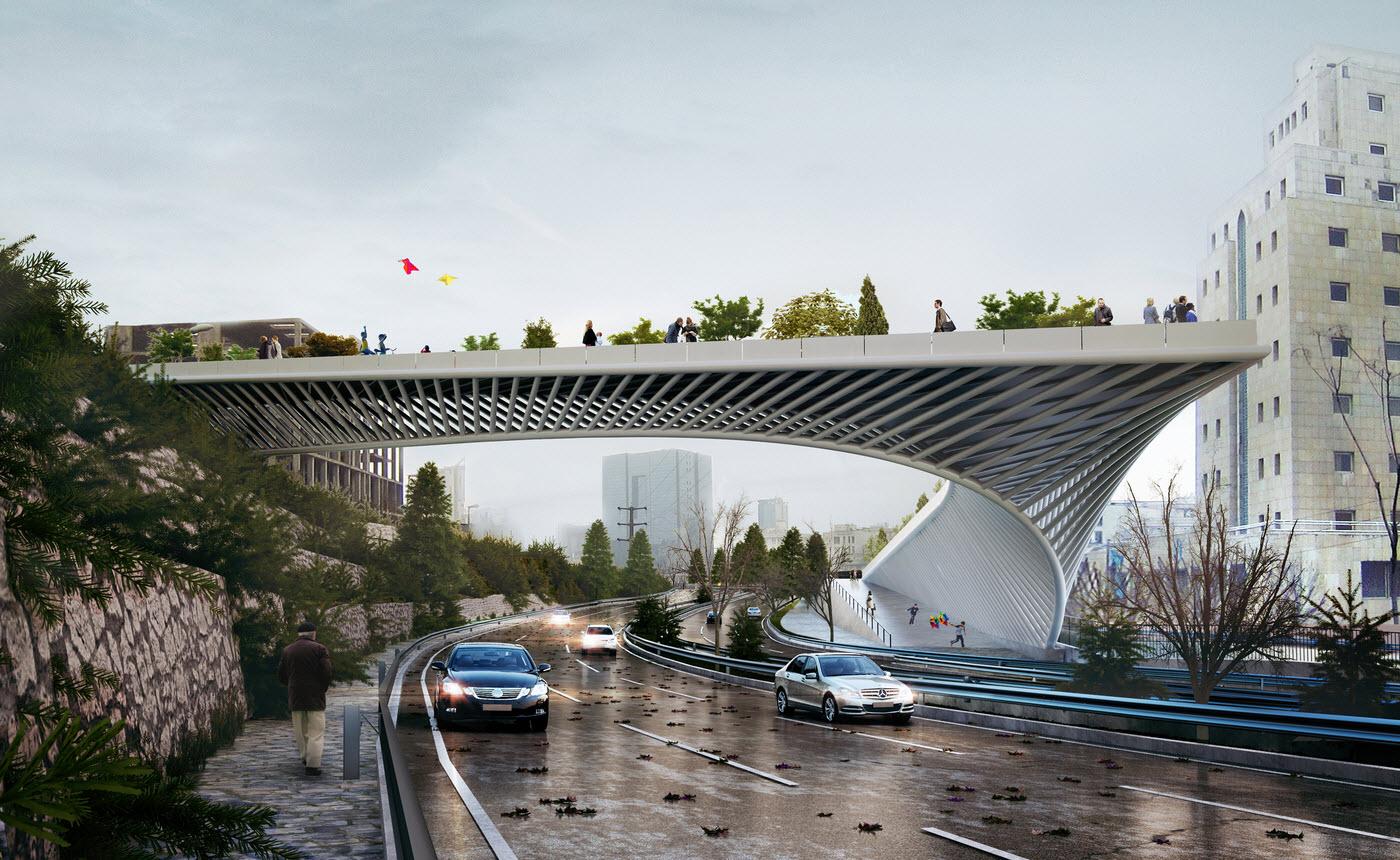 طراحی پل عابر پیاده حقانی - اراضی عباس آباد تهران,طراحی پل عابر پیاده در بزرگراه حقانی