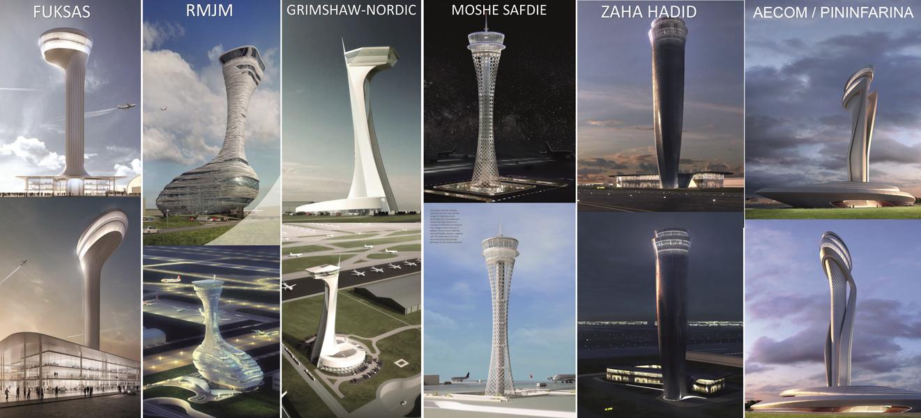 طراحی برج کنترل ترافیک فرودگاه جدید استانبول,طرح های پیشنهادی معماران برای برج کنترل ترافیک فرودگاه جدید استانبول