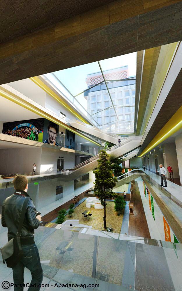 طراحی داخلی مجتمع تجاری تفریحی رشت,رندر از مرکز تجاری تفریحی