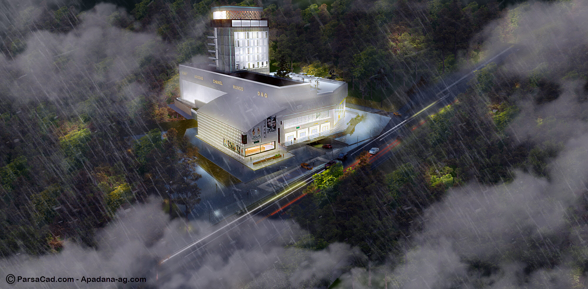 رندر در شب,طراحی مرکز تجاری تفریحی,رندر از مجتمع تجاری تفریحی