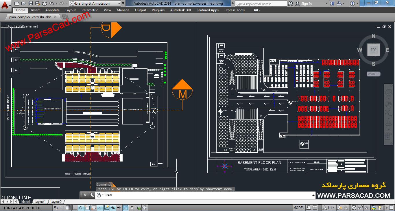 نقشه استخر,پلان استخر,نقشه معماری,پلان معماری