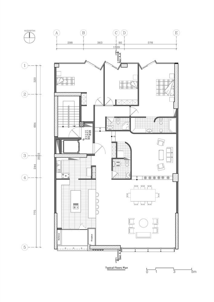 پلان ساختمان مسکونی,نقشه ساختمان مسکونی,پلان آپارتمان مسکونی