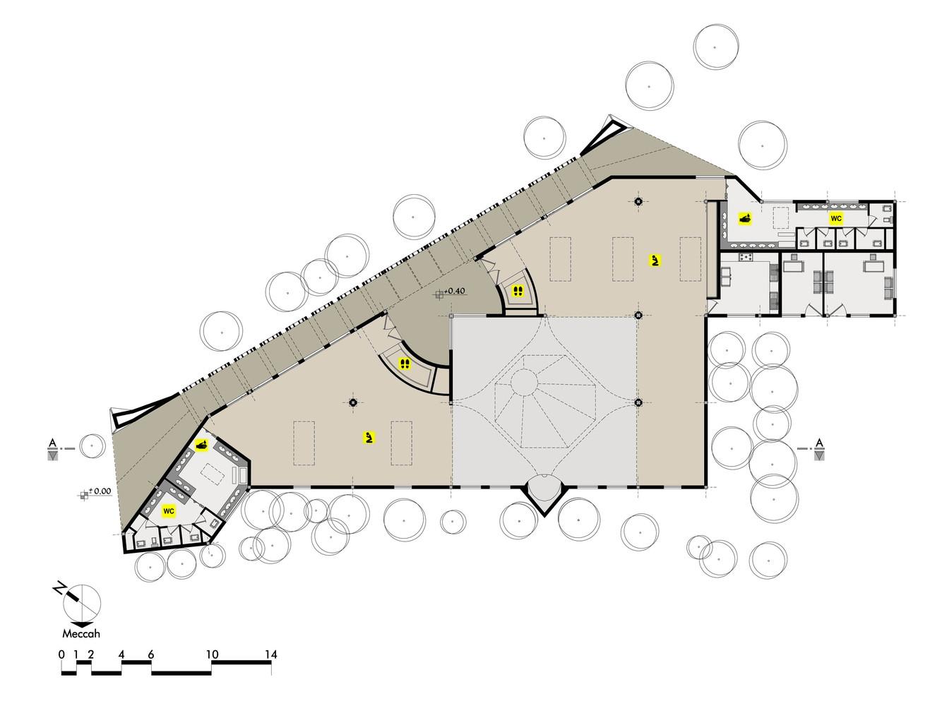 "معماری ""مسجد محمد رسول الله"" ,پلان مسجد,نقشه مسجد"
