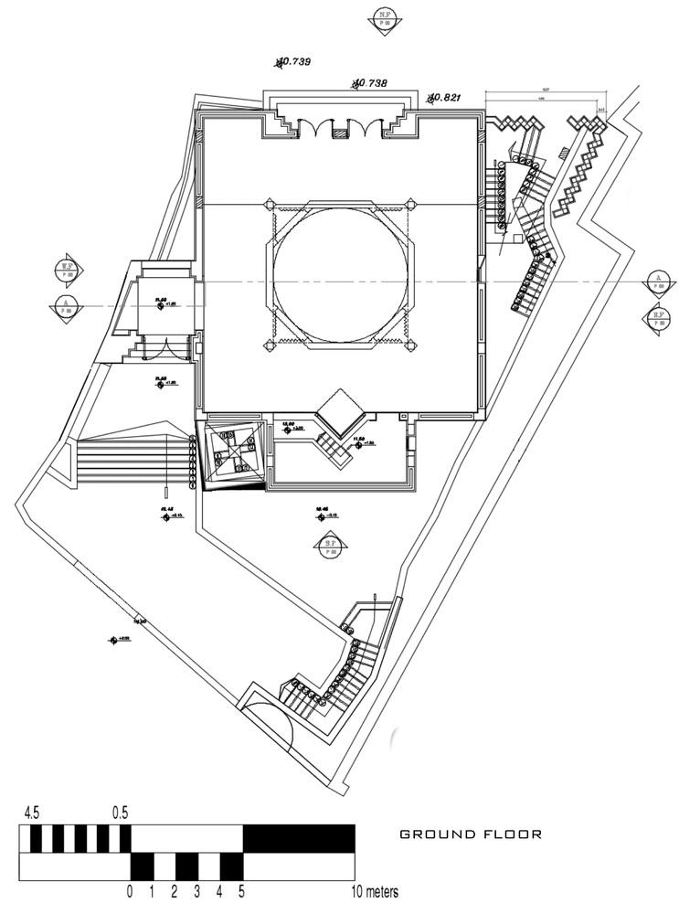 طراحی مسجد اسلامی مصر با گنبد تک پوسته لانه زنبوری,پلان مسجد,نقشه مسجد,طراحی مسجد,پلان معماری مسجد,معماری,پلان معماری,نقشه معماری,طراحی گنبد مسجد,پارساکد