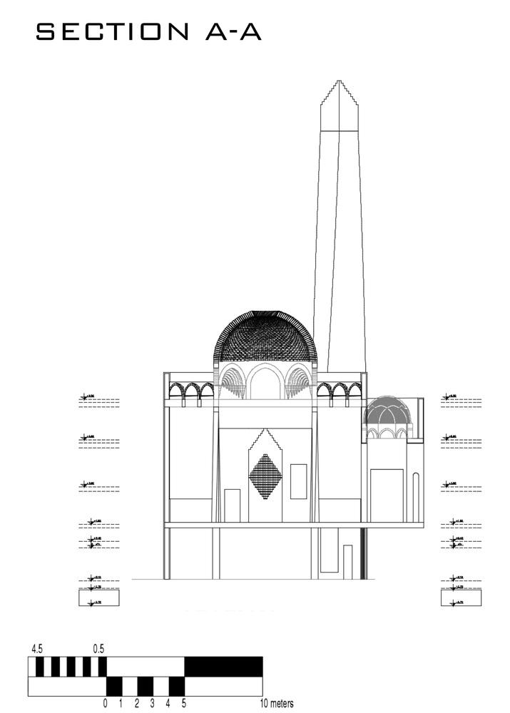 طراحی مسجد اسلامی مصر با گنبد تک پوسته لانه زنبوری,نقشه مسجد,طراحی مسجد,پلان معماری مسجد,معماری,پلان معماری,نقشه معماری,طراحی گنبد مسجد,پارساکد